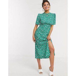 NWT Asos | Green White Floral Midi Tea Dress 14
